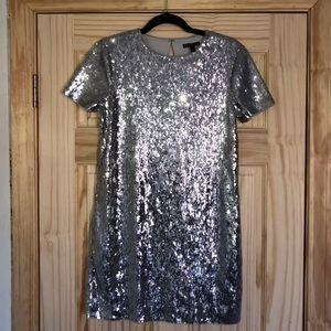 Express silver sequin dress